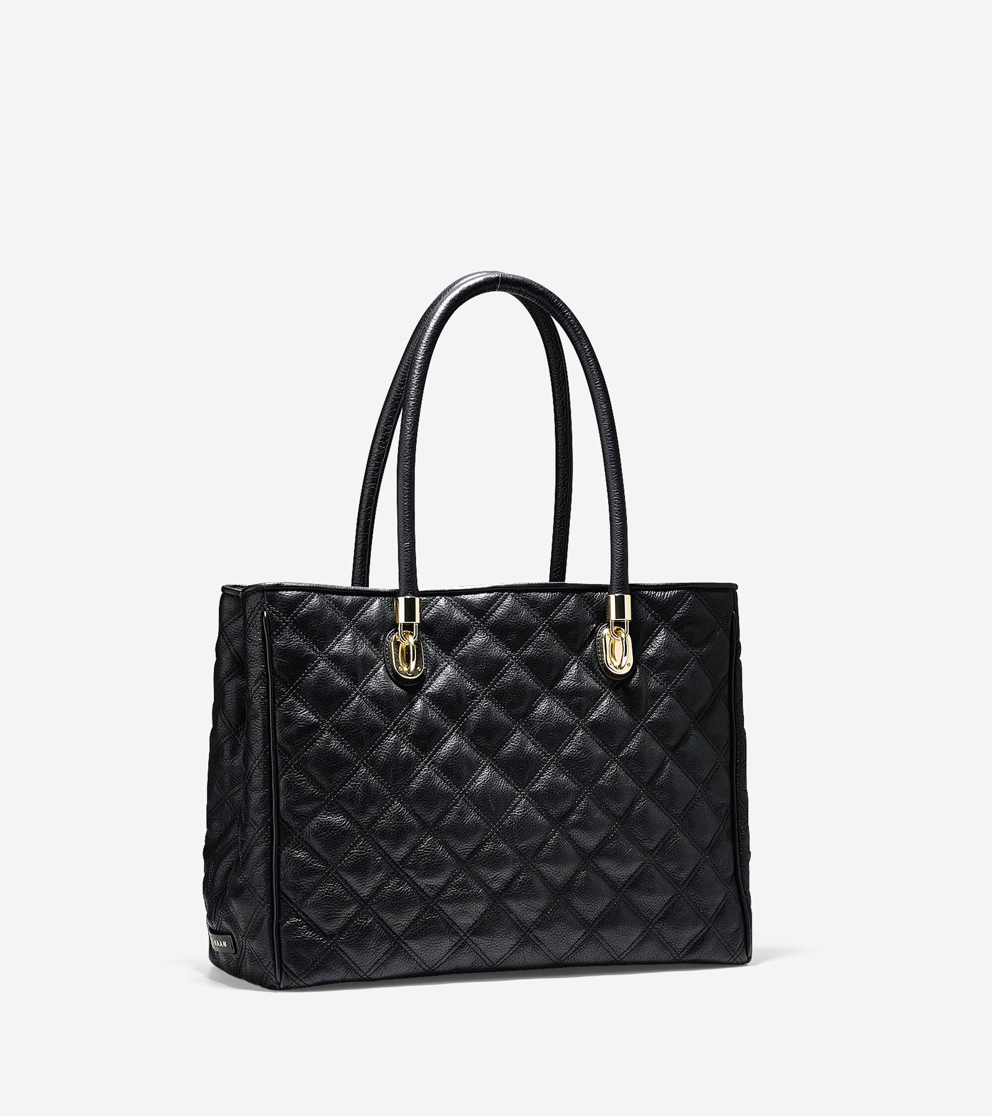 Women's Benson Quilted Tote in Black : Sale | Cole Haan : leather quilted bag - Adamdwight.com