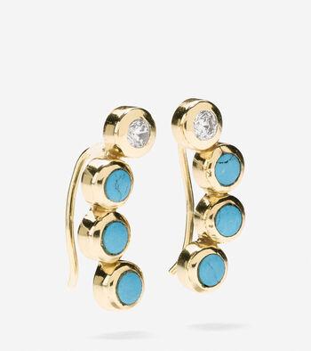 Spring Street Fashion Semi-Precious Stone Crawler Earrings