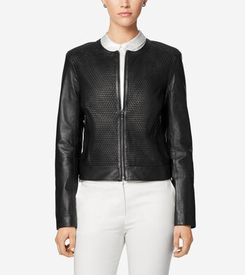 Luxe Lamb Leather Woven Collarless Moto Jacket