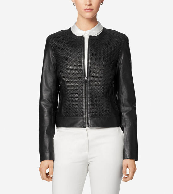 Classics > Luxe Lamb Leather Woven Collarless Moto Jacket