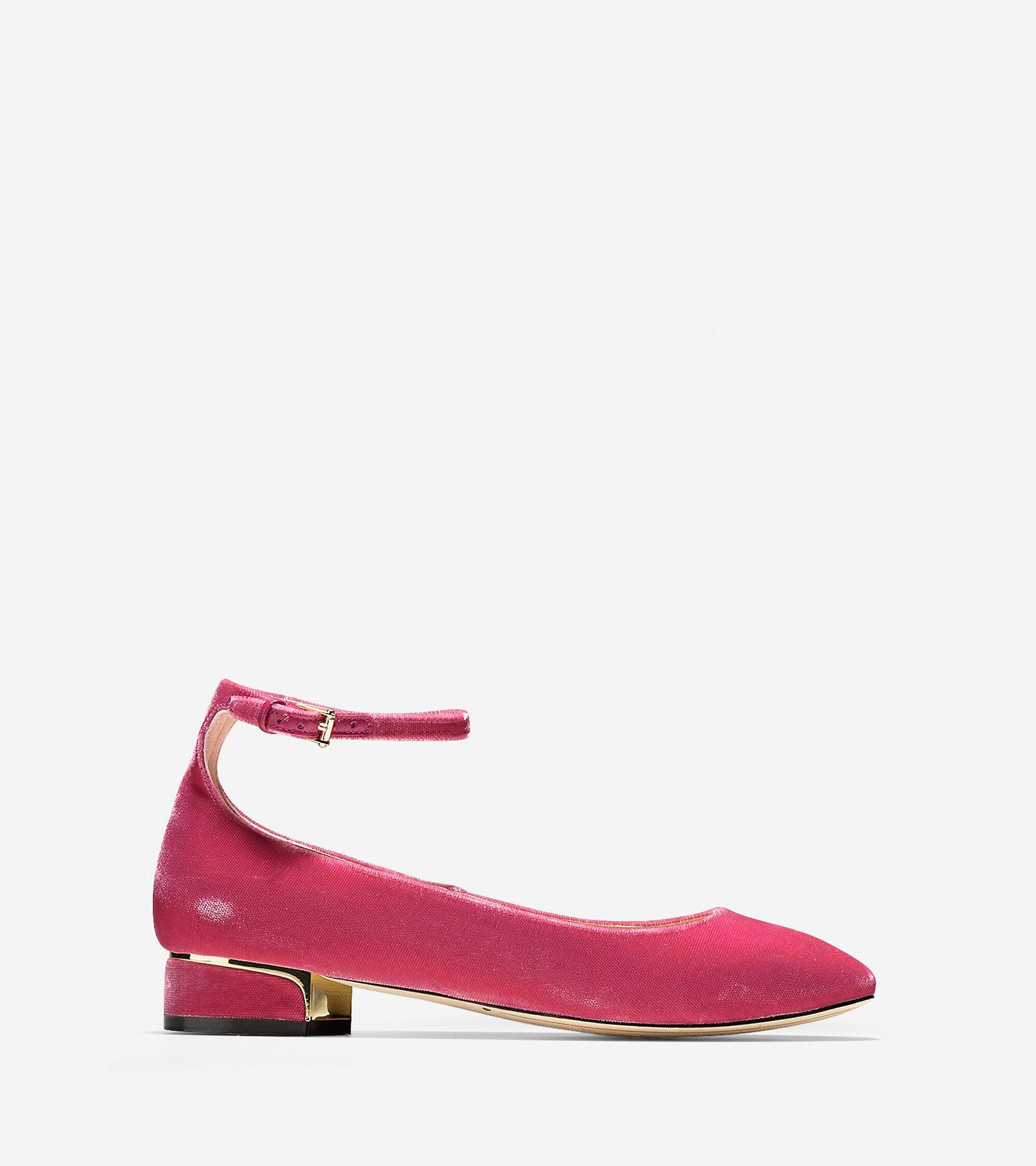 Velvet Strap Shoes Ballet Flats