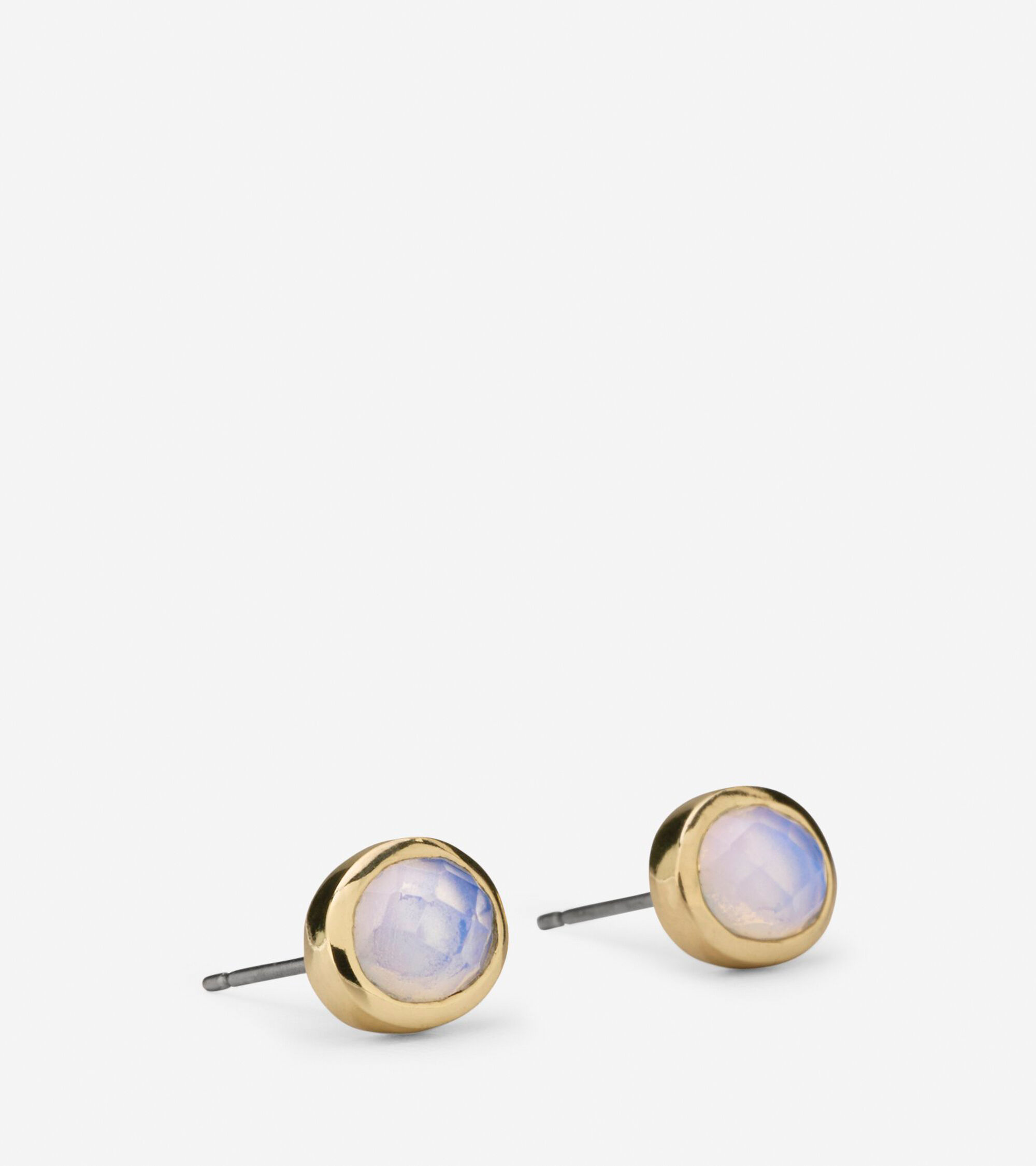 white big product stud oval earrings vintage glass tone gold pearly