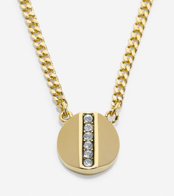 Round Pave Swarovski Bar Pendant Necklace