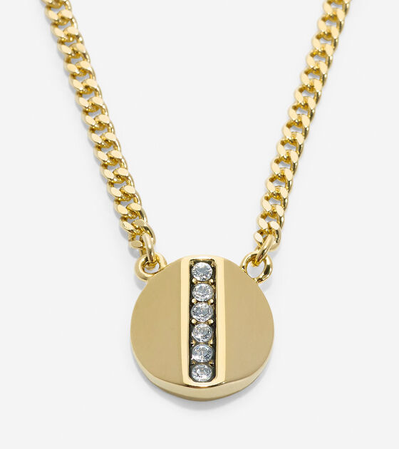 Bags & Outerwear > Round Pave Swarovski Bar Pendant Necklace