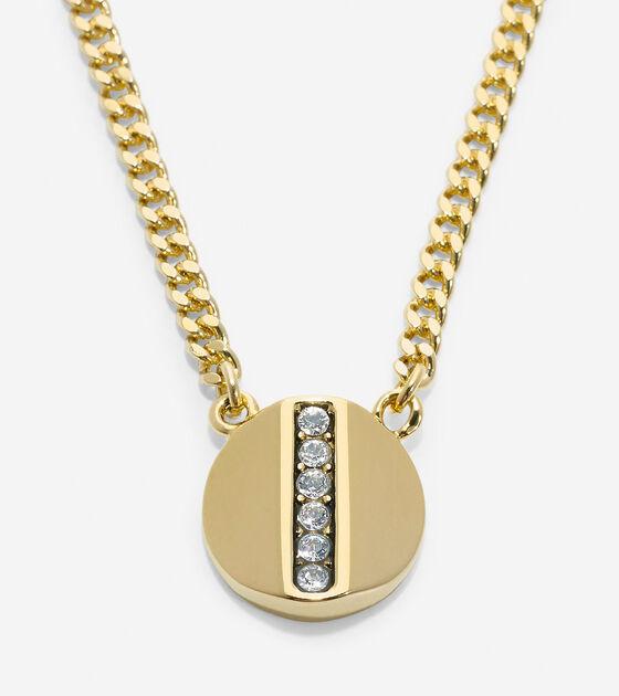Accessories > Round Pave Swarovski Bar Pendant Necklace