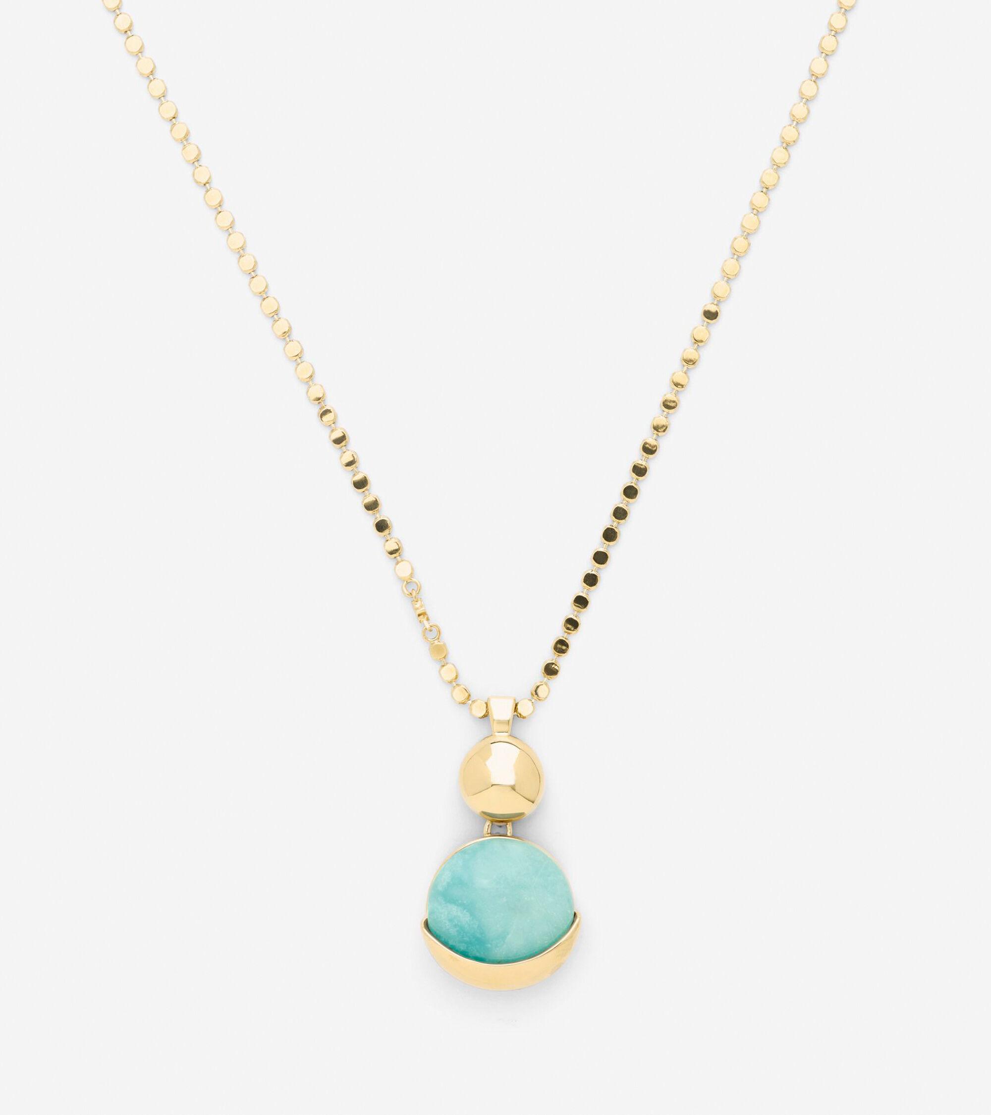 Accessories > Semi-Precious Double Circle Pendant Necklace