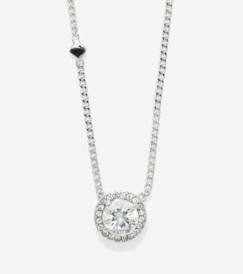 Crown Of Lights Round CZ Halo Necklace