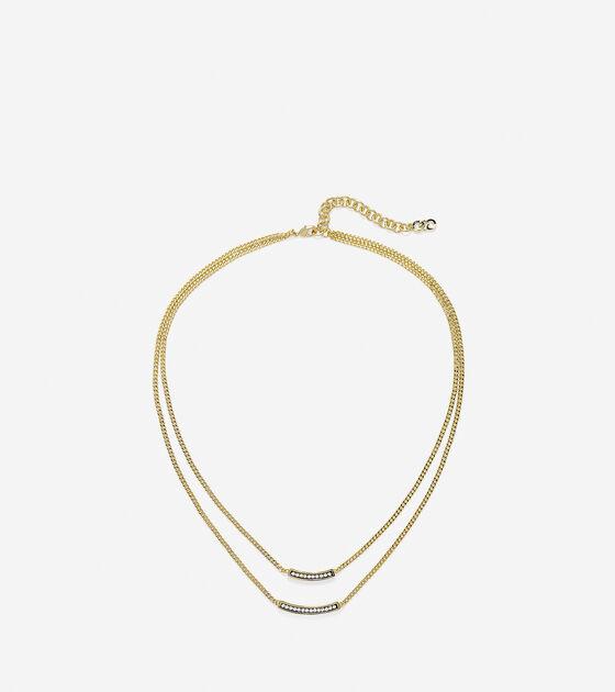 Double Pave Swarovski Bar Necklace