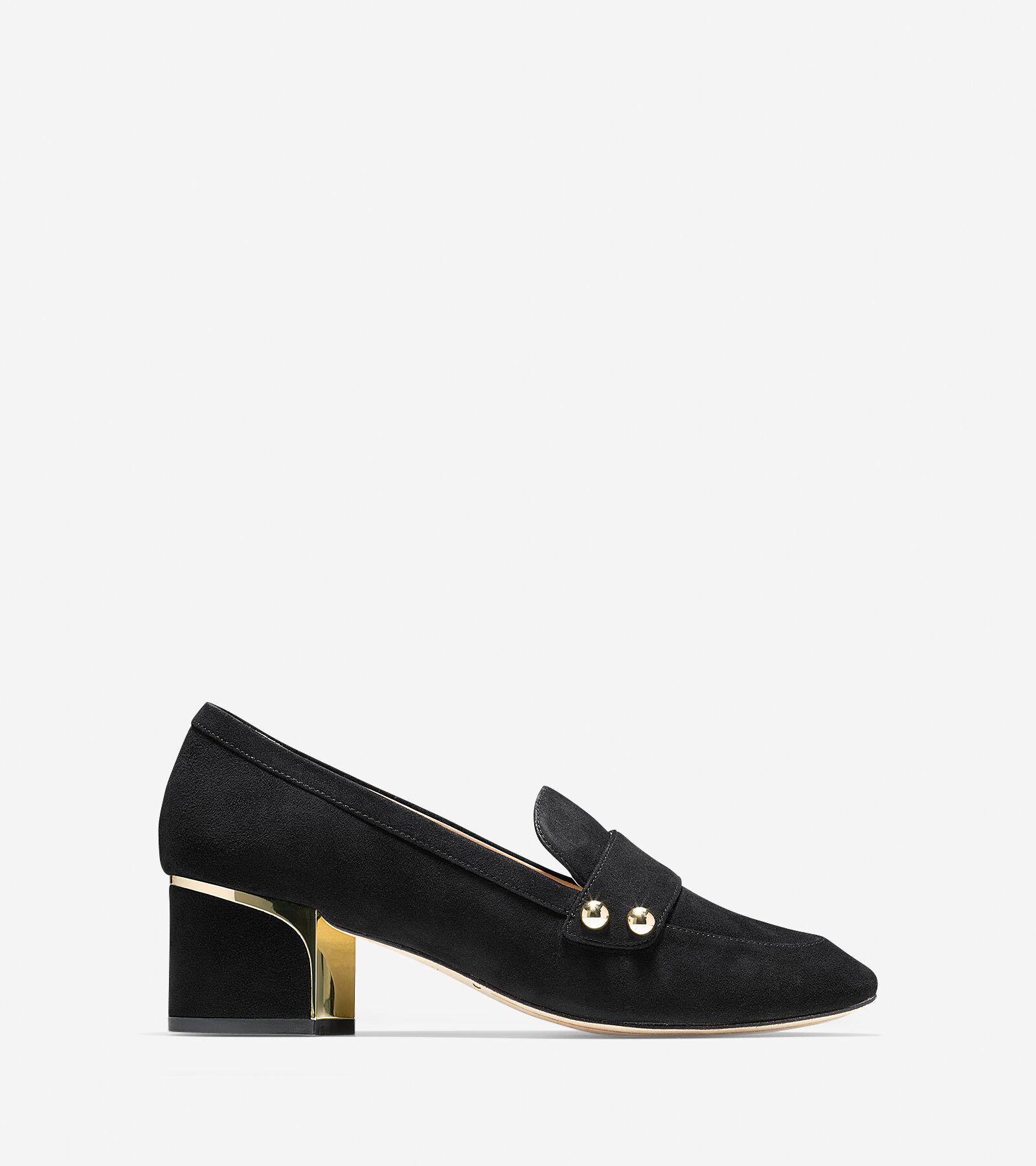 Jane Leather Block Heel Loafers oj4gWF