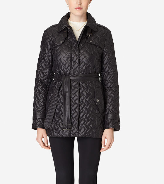 Outerwear > Single Breasted Quilted Trench Coat