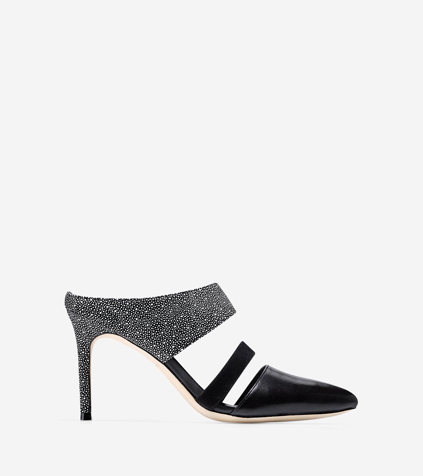 Womens Shoes Cole Haan Lexington Pump 85 Black/White/Black Nubuck