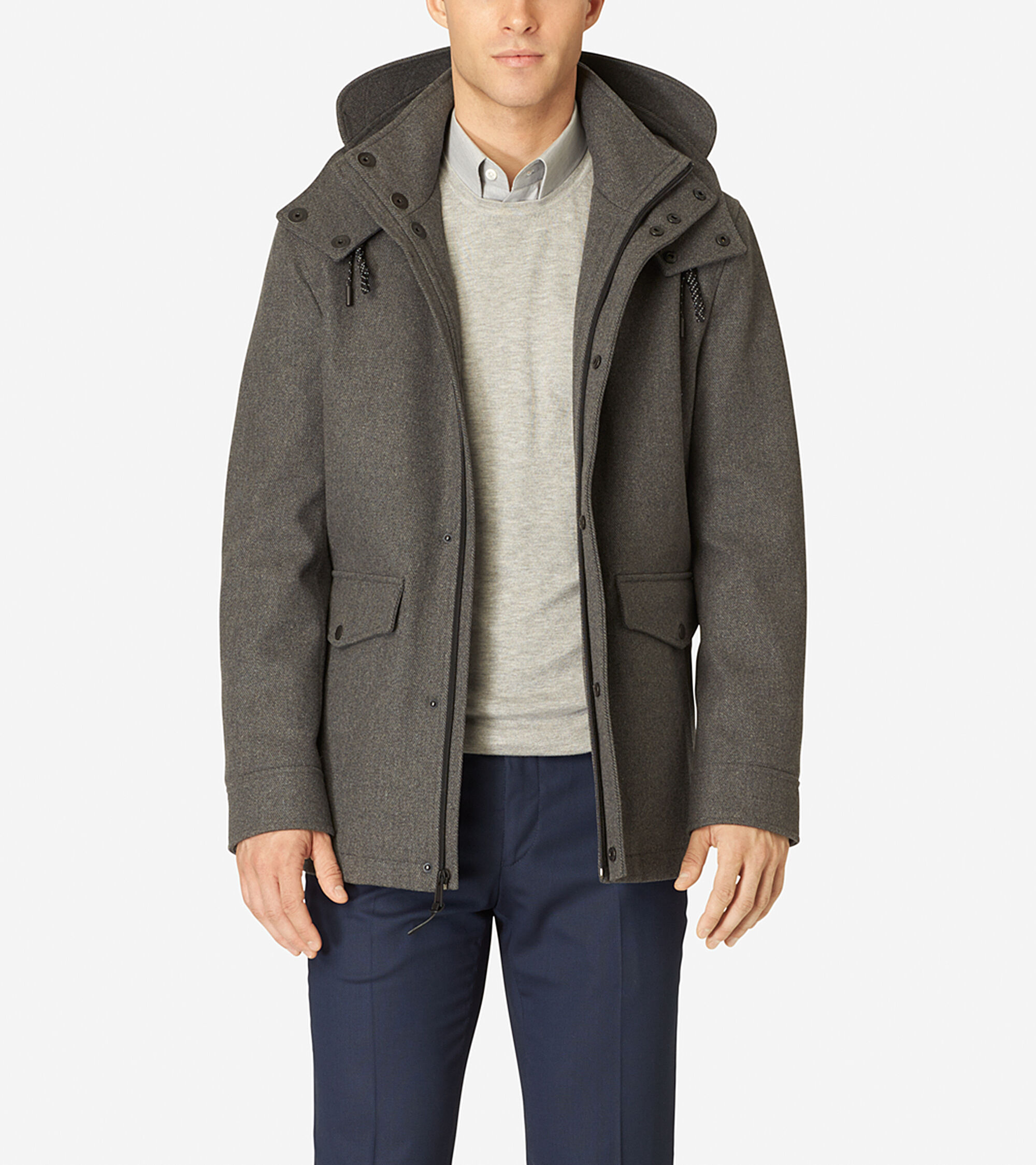 Outerwear > Hooded Water-Repellent Wool Topper
