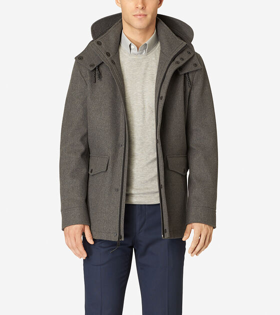 Bags & Outerwear > Hooded Water-Repellent Wool Topper