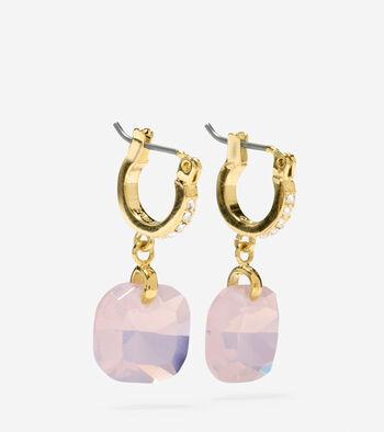 Gem Drops Square Semi-Precious Stone Huggie Earrings