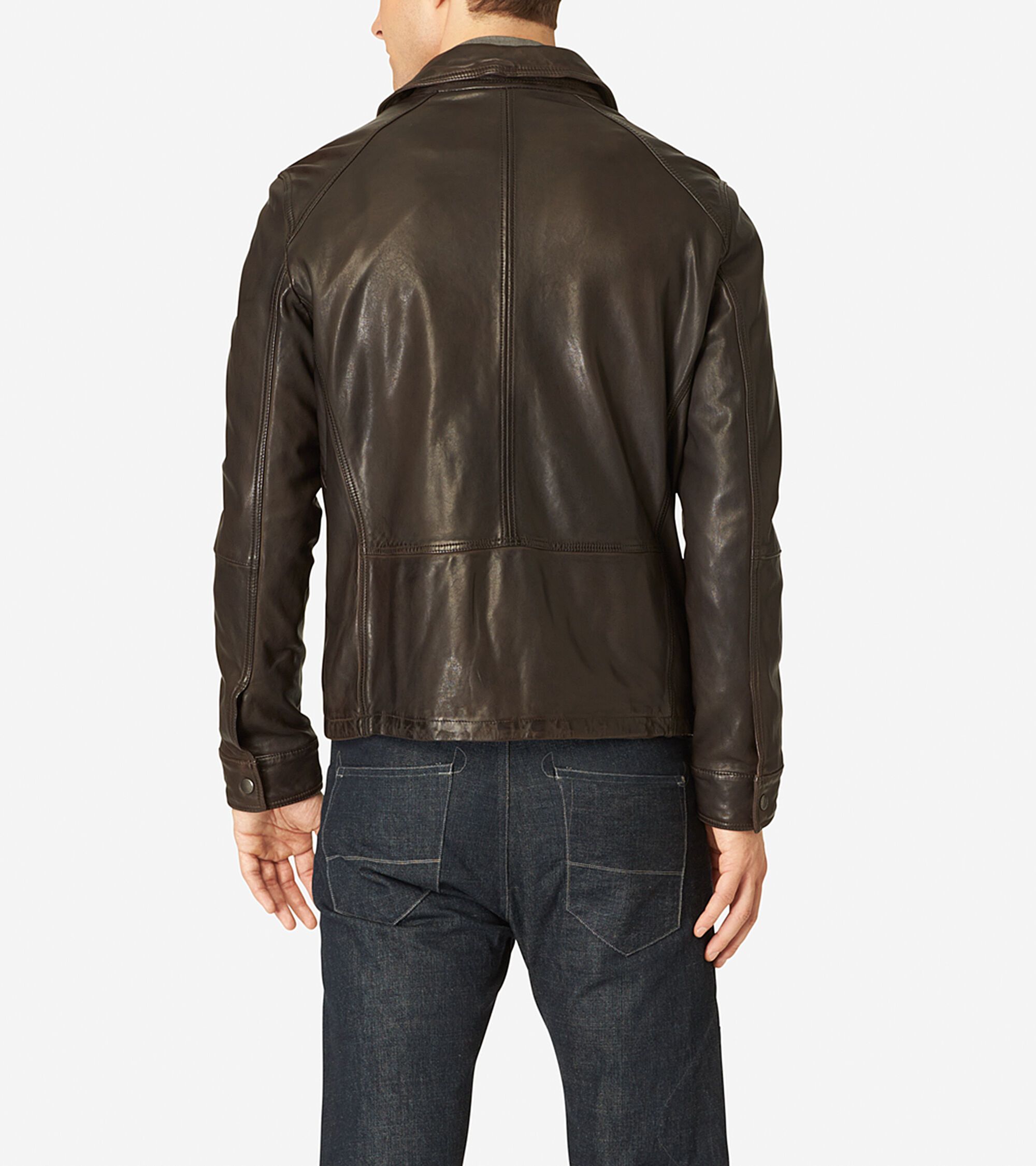 Men 39 s vintage leather shirt collar jacket in java cole haan for Mens shirts with leather