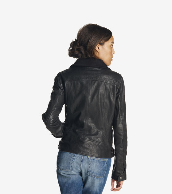 Textured Leather Moto Jacket