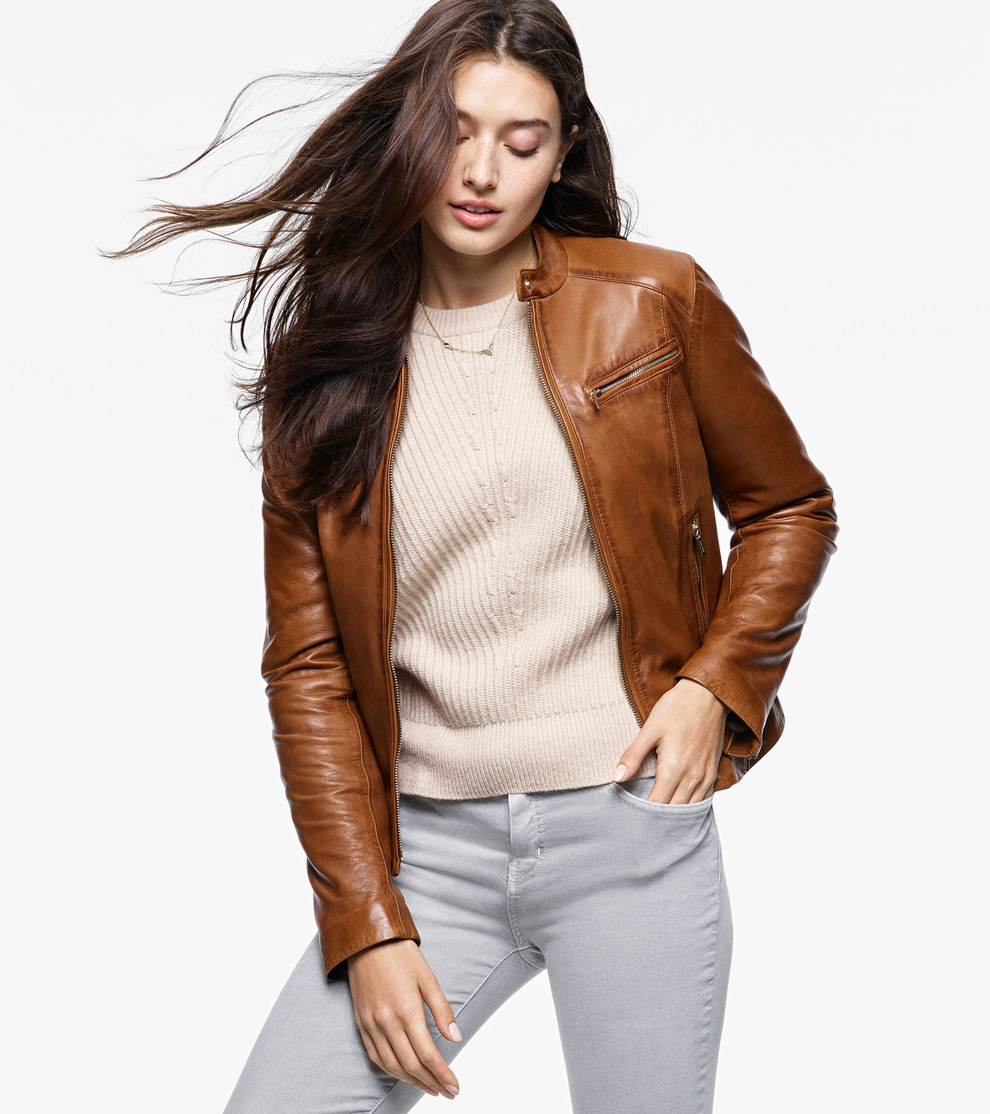 Burnished Lamb Leather Band-Collar Moto Jacket in Pecan | Cole Haan : cole haan leather jacket diamond quilted - Adamdwight.com