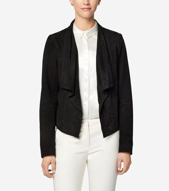 Classics > Double Face Suede Open Front Jacket