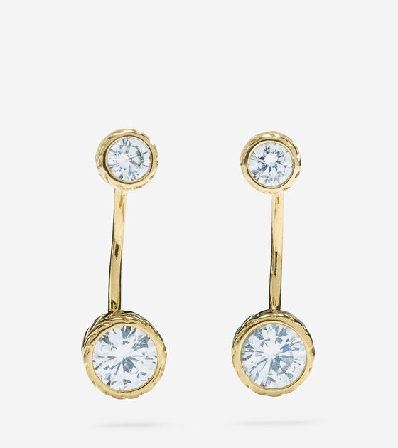 Accessories > 2 CZ Stone Drop Front/Back Earrings