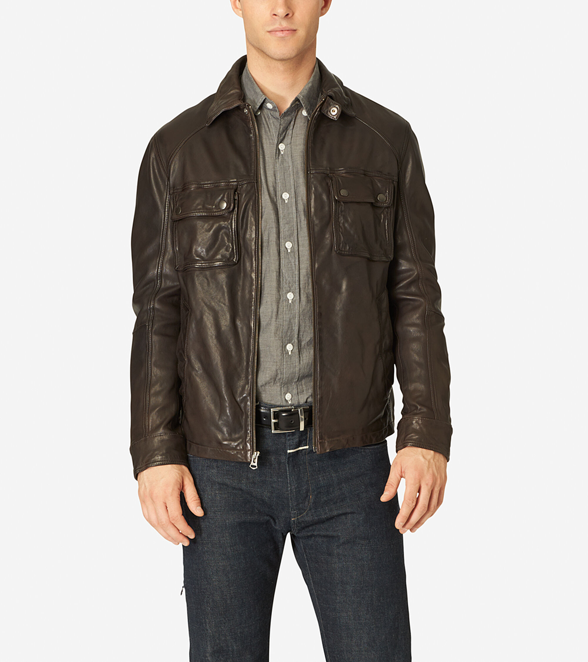 Men 39 s vintage leather shirt collar jacket in java cole haan for Leather jacket and shirt