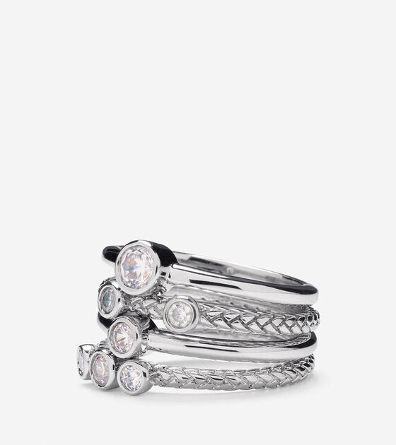 Accessories > Set of 4 Stack CZ Rings