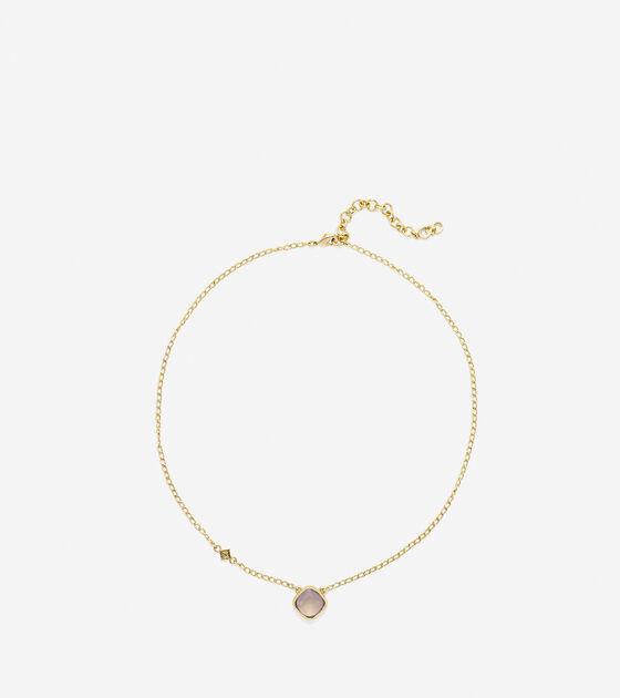 To The Moon Semi-Precious Cushion Cut Solitare Necklace