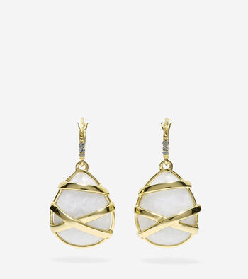 To The Moon Wrapped Semi-Precious Moonstone Drop Earrings