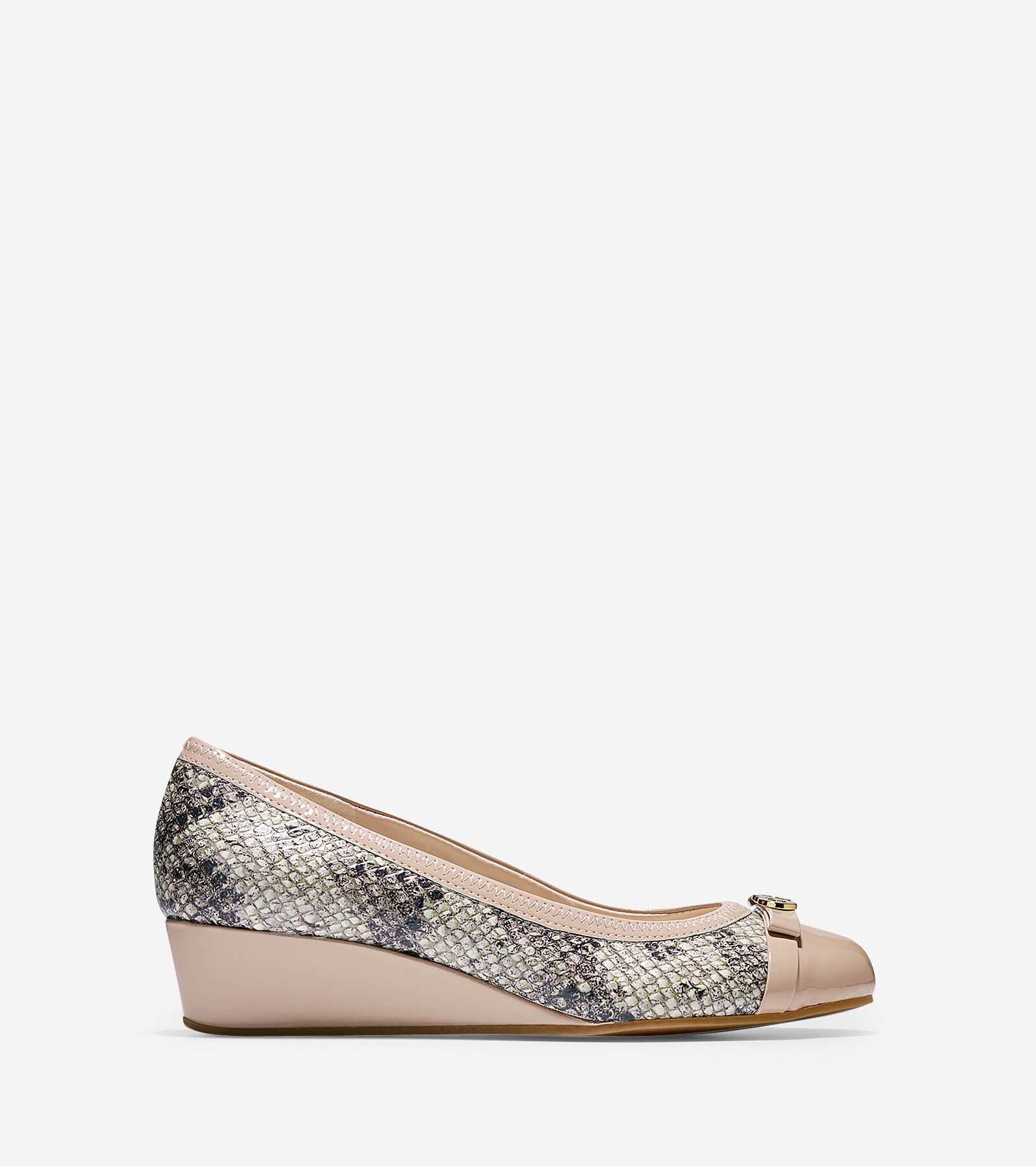 Womens Shoes Cole Haan Elsie Logo Wedge II Natural Roccia Snake Print/Patent