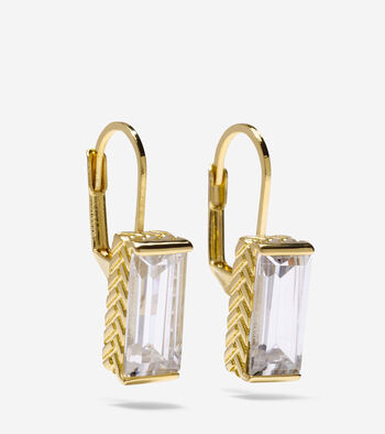 Cubic Zirconia Baguette Drop Earrings