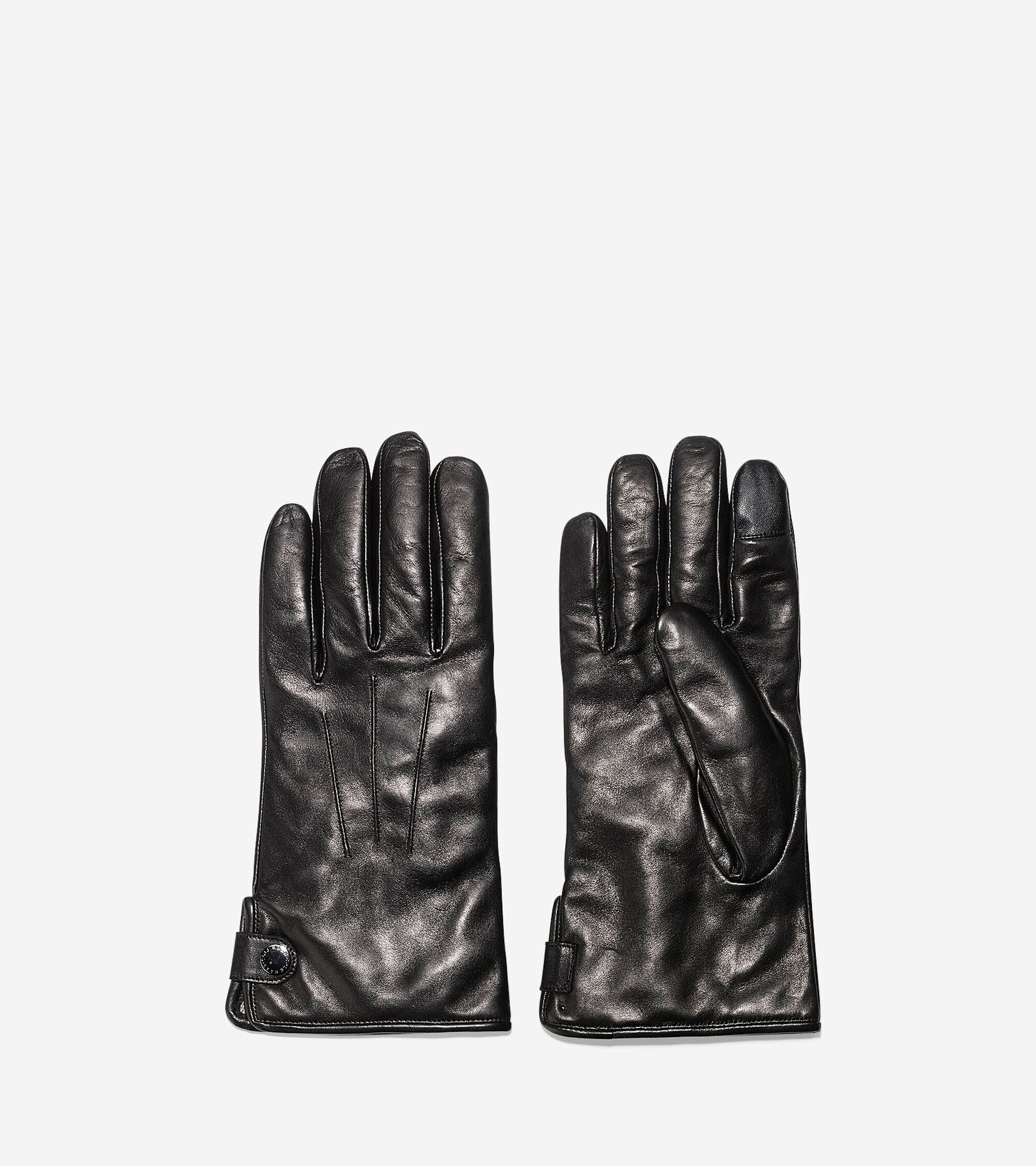 Cole haan black leather gloves -  Men S Side Snap Gloves With Center Points Colehaan