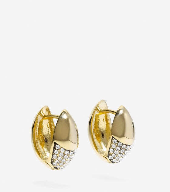 Waters Edge Swarovski Half Pave Teardrop Huggie Earrings