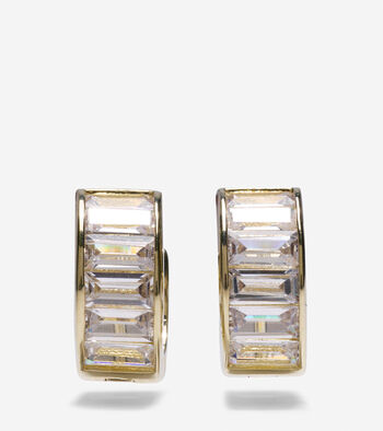 Cubic Zirconia Baguette Huggie Earrings