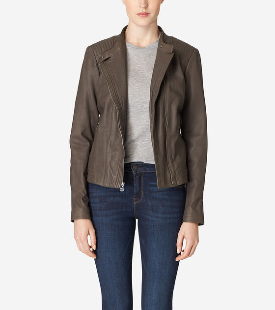 Outerwear > Asymmetrical Washed Leather Racer Jacket