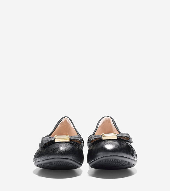 Tali Bow Quilted Ballet Flats In Black Quilted Leather