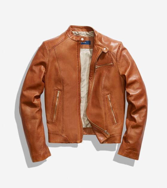Burnished Lamb Leather Band-Collar Moto Jacket