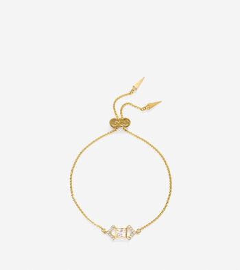Love Triangle CZ Triangle Chain Pull-Tie Bracelet