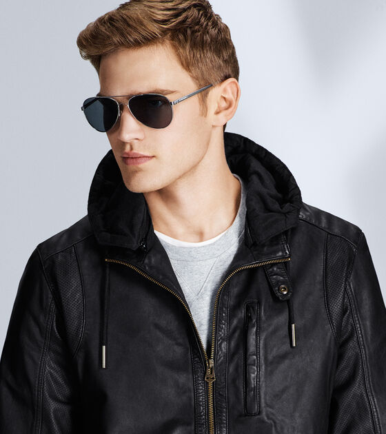 Hooded Washed Leather Moto