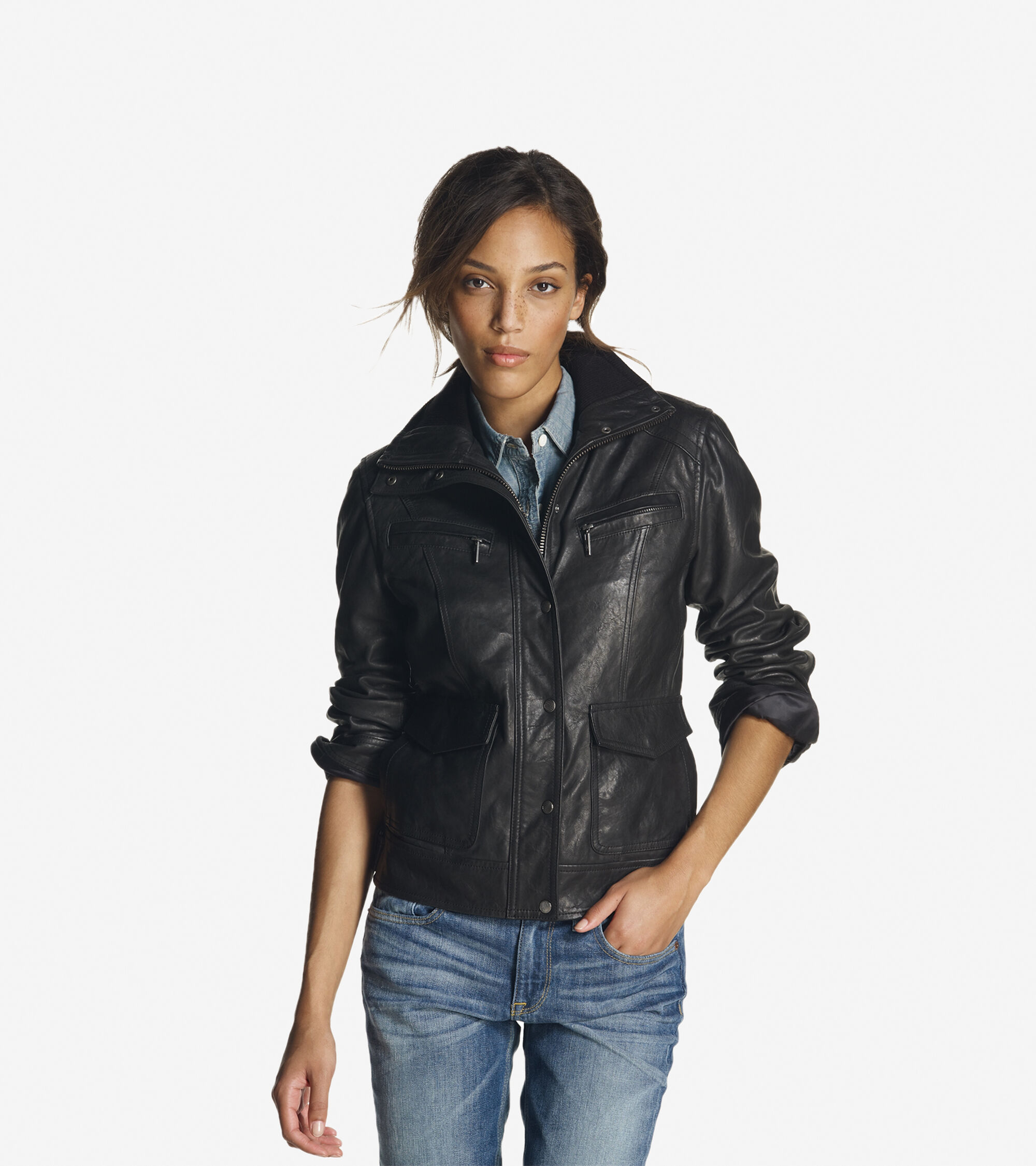 Outerwear > Textured Leather Moto Jacket