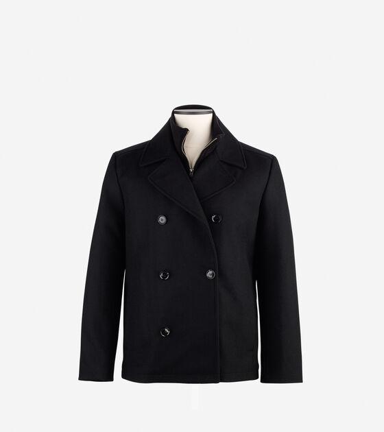 Wool Melton Pea Coat in Black : Mens Clearance | Cole Haan