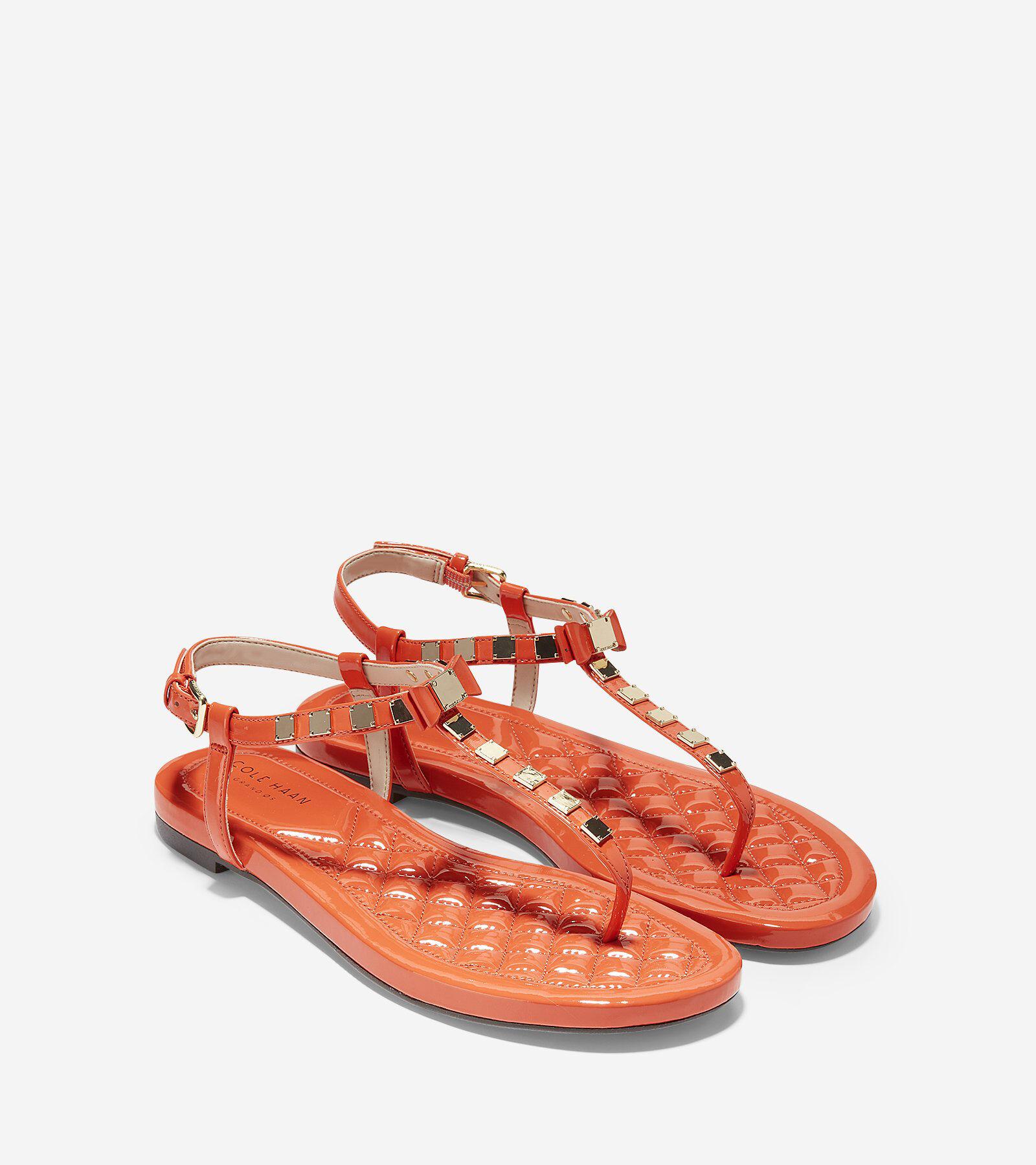 Womens Tali Mini Bow Studded Sandal, Koi Patent, 9 B US Cole Haan