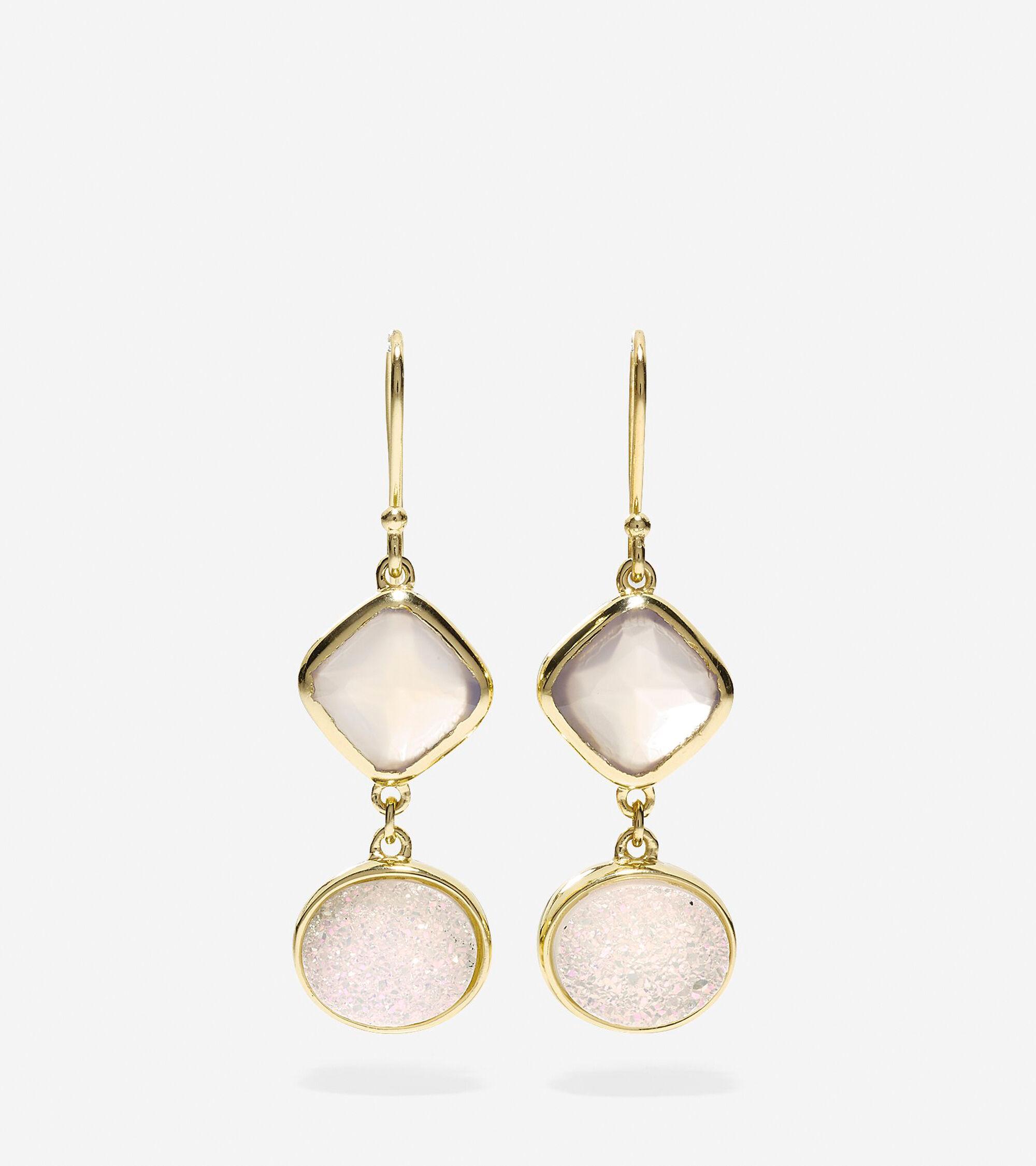 Jewelry > To The Moon Semi-Precious Double Drop Earrings