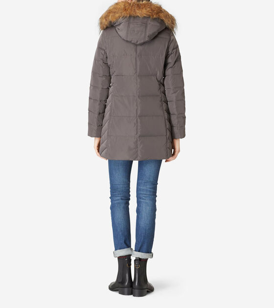 Faux Fur Lined Quilted Exposed Down Jacket