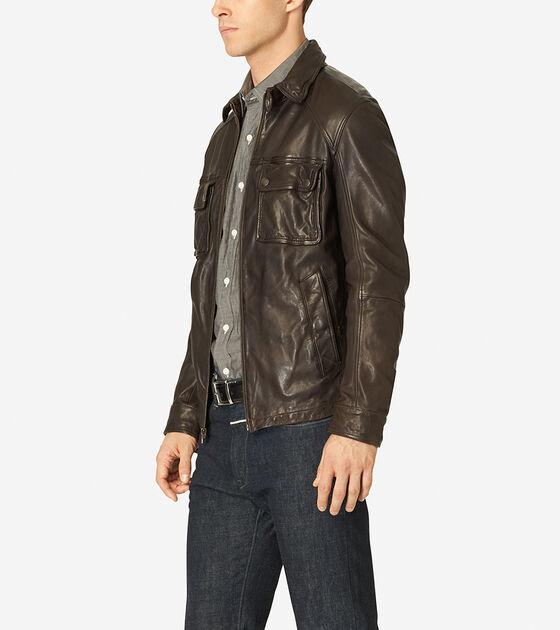 Vintage Leather Shirt Collar Jacket
