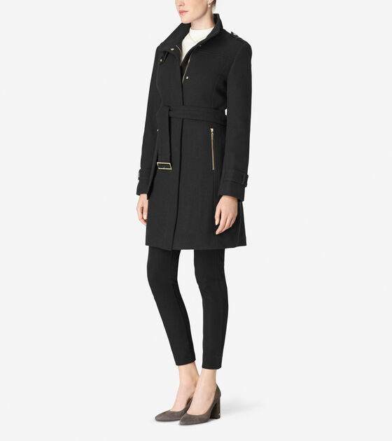 Funnel Collar Belted Coat