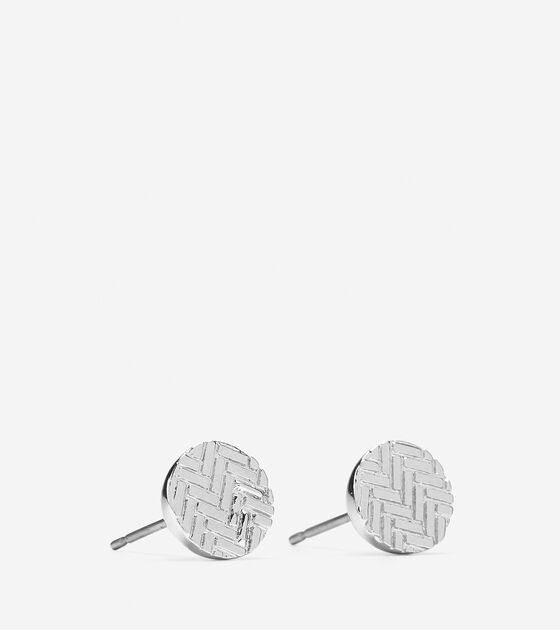 Etched Basket Weave Stud Earring