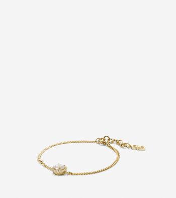 Crown Of Lights Round CZ Halo Chain Bracelet