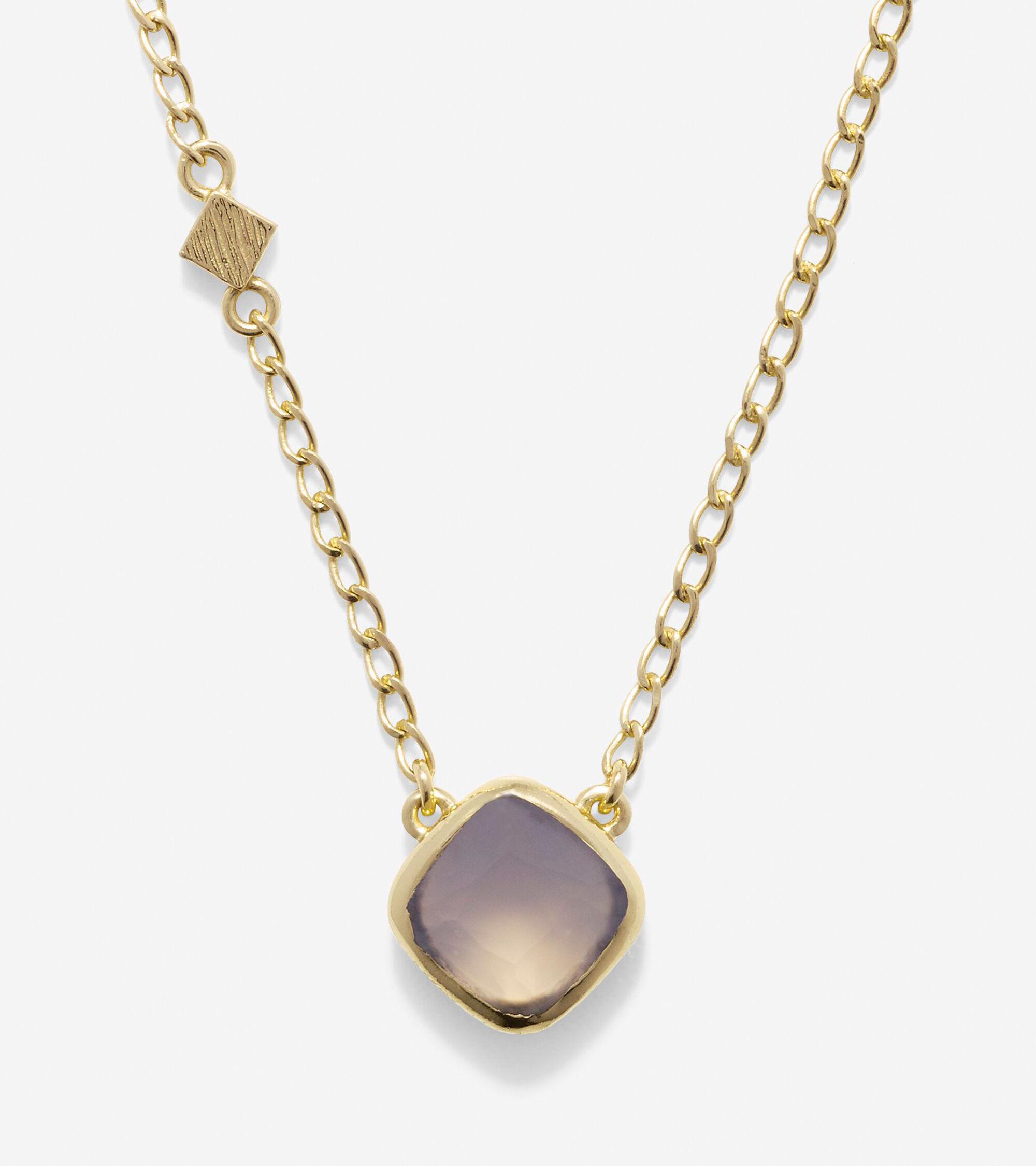 Jewelry > To The Moon Semi-Precious Cushion Cut Solitare Necklace
