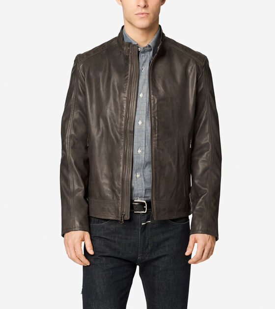 Outerwear > Washed Leather Moto Jacket