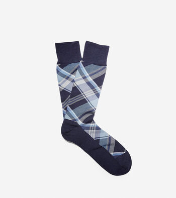Diagonal Plaid Crew Socks