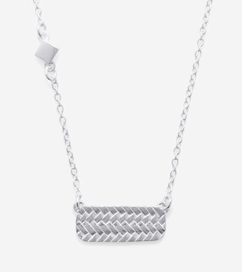 Sterling Silver Basket Weave Bar Necklace